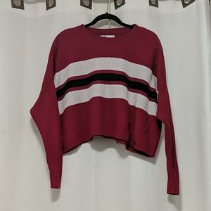RED, BLUE AND WHITE STRIPE HOLLISTER SWEATER
